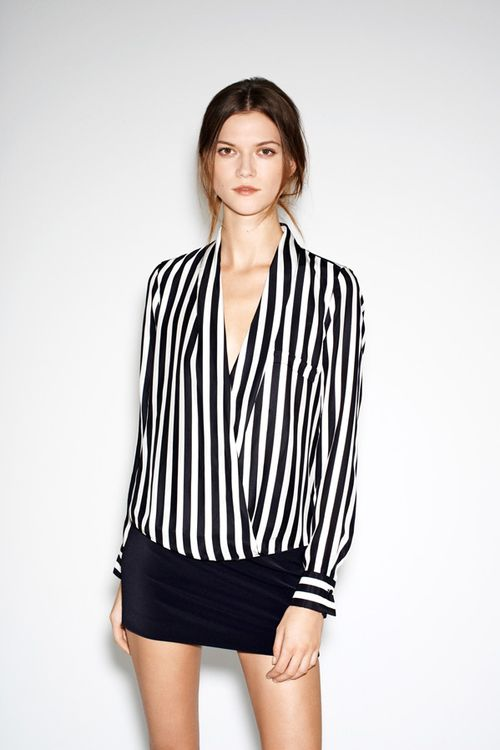 Zar astriped wrap blouse